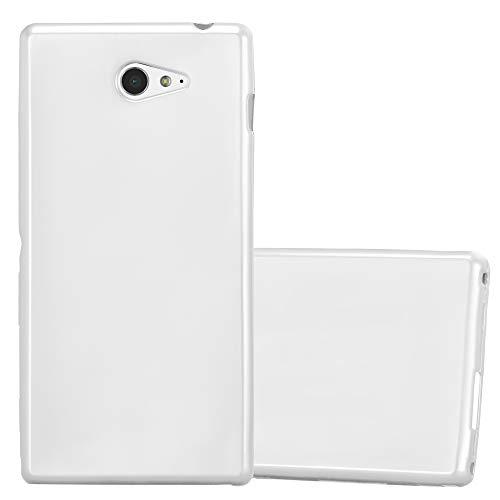 Cadorabo Hülle für Sony Xperia M2 / M2 Aqua in METALLIC Silber - Handyhülle aus flexiblem TPU Silikon - Silikonhülle Schutzhülle Ultra Slim Soft Back Cover Hülle Bumper