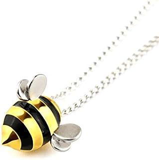 Ciondolo con vera ape in argento sterling 925 e pendente a goccia con collane