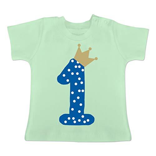 Geburtstag Baby - 1. Geburtstag Krone Junge Erster - 12/18 Monate - Mintgrün - BZ02 - Baby T-Shirt Kurzarm