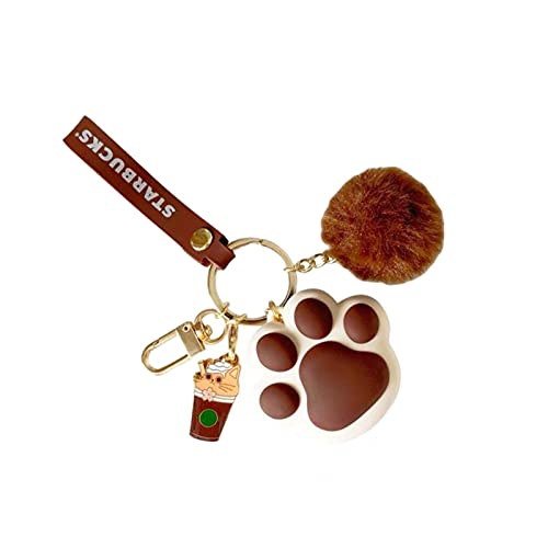 su-xuri - Llavero con diseño de pata de gato con colgante de peluche para conectar a la llave, al teléfono móvil, cartera, el coche (rosa/café/verde)