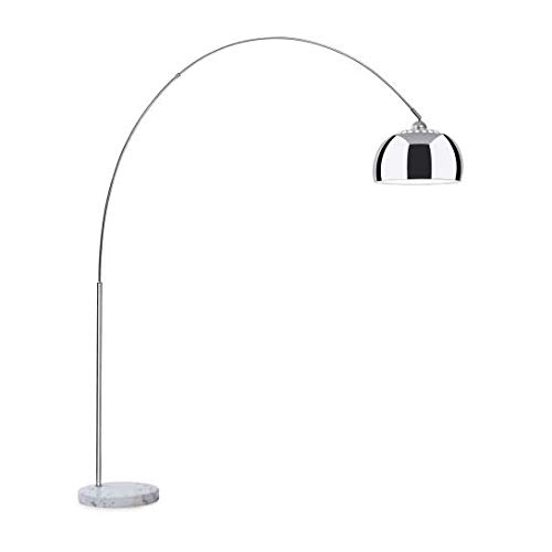 Besoa Nael Bogenlampe, weißer Marmorsockel, Maße: 183 x 200 x 37 cm (BxHxT),silberner Schirm, Fassung: E27, Netzkabel: 2 Meter Länge, silber