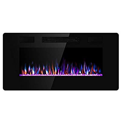Xbeauty 36 inch Wall Mounted Recessed Electric Fireplace Insert, Ultra-Thin Lightweight LED Fireplace Heater, Flush Mount Linear Fireplace, Fit 2x4&2x6 Stud w/Touch Screen,Remote Control,1500W,Black