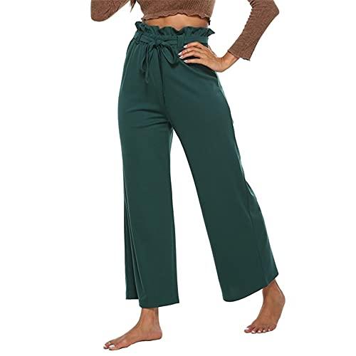 Mujeres de la Pierna Ancha pantalón cinturón cinturón Estiramiento Crepe cónico