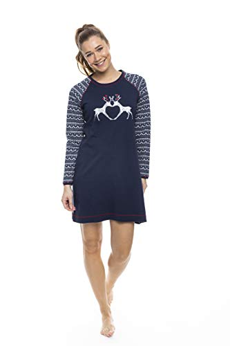 Pastunette Rebelle Dames Kerst Katoen Nachtkleding met Nordic Reindeer Design, Donkerblauw 8-18