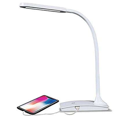 TW Lighting IVY-40WT The IVY LED Desk Lamp with USB Port, 3-Way Touch Switch, White (Renewed)