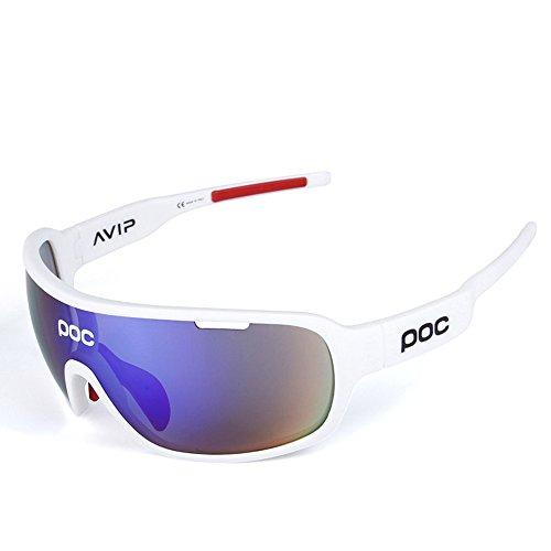 Gafas Polarizadas Deporte Bici Anti UV400 Gafas para Correr Running Antivaho con 5 Lentes Intercambiables Adaptadas También A Ciclismo Bicicleta De Montaña MTB Y Carrera para Hombre Y Mujer,B