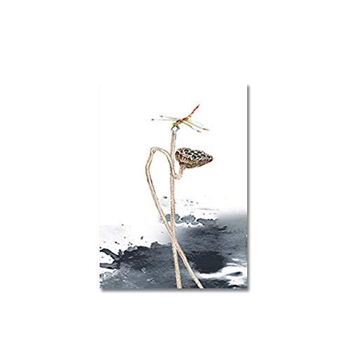LKJHGU Kein Rahmen Aquarell Chinese Ink Style Lotus Poster Leinwandbilder Bilder Landschaft Wanddrucke Kunst für Wohnzimmer Wohnaccessoires 50 * 70cm