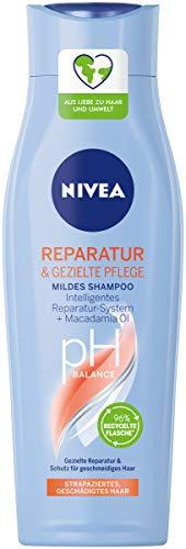 NIVEA Reparatur & Gezielte Pflege Mildes Shampoo (250 ml), Haarshampoo mit intelligentem Reparatur System und Macadamia Öl, intensives Pflegeshampoo