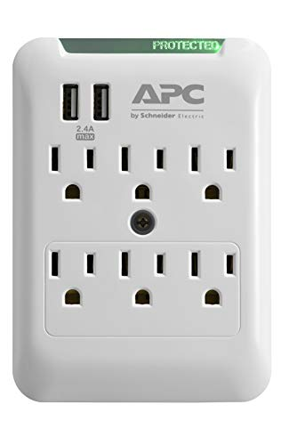 APC Wall Outlet Plug Extender, Surge Protector with USB Ports, PE6WU2, (6) AC Multi Plug Outlet, 540 Joule Surge Protection