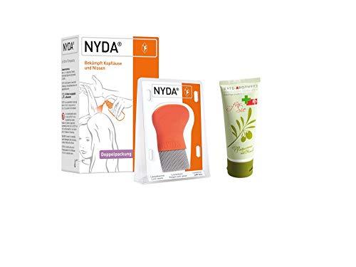 NYDA Läusebehandlung Sparset - NYDA Original Pumplösung 2x50 ml & NYDA Läusekamm/Nissenkamm aus Metall inkl. GRATIS Rats-Apotheke Pflegecreme