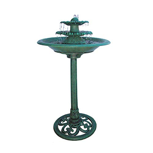 Alpine Corporation 3-Tiered Pedestal Water Fountain and Bird Bath - Resin Vintage Decor for Garden, Patio, Deck, Porch - Green