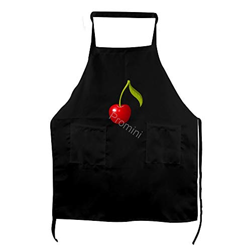 Promini Tablier de Cuisine pour Adulte 100% Polyester avec Deux Poches, Tablier de Cuisine pour Homme et Femme – Cerise (4)