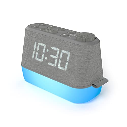 Digital Alarm Clock Radio with Sound Machine, LED Night Light and Dimmable Display, Alarm Clocks for Bedrooms with Battery Backup, USB Charger and Sleep Sounds, LED Clock with White Noise Machine