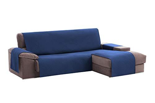 Textilhome - Copridivano Salvadivano Chaise Longe Adele - Color Blu -BRACCIOLO Destro - Protezione per divani Imbottiti - Dimencione 240cm -(Visto di Fronte).