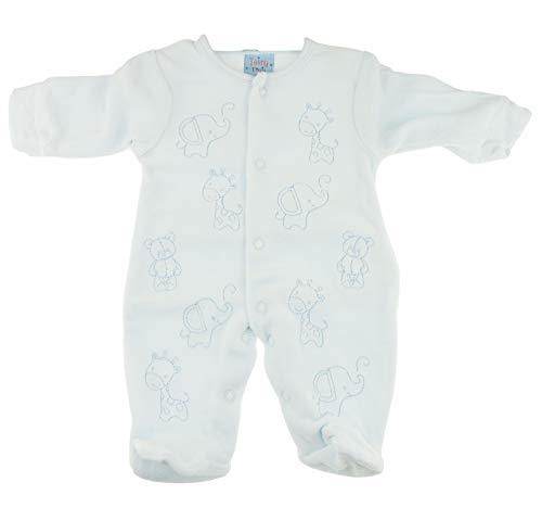 Baby Soft Boys Velvet Romper Pijama todo en un lindo elefante jirafa azul (Early Baby 45)
