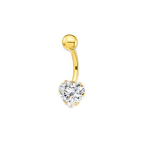 Piercing per ombelico cuore zirconi - oro giallo 18k (750)