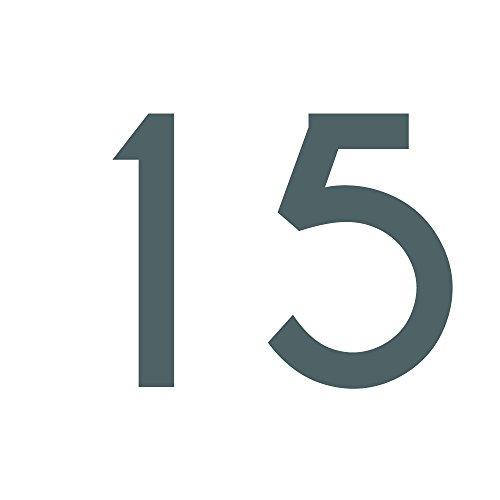 1peak Zahlenaufkleber Nummer 15, Silber, 5cm (50mm) hoch, Aufkleber mit Zahlen in vielen Farben + Höhen, wetterfest