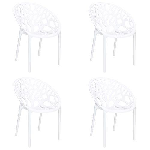 Totò Piccinni Sedie Poltroncine JUNGLE in Polipropilene Moderne Design Impilabili (Bianco, 4 Pz)