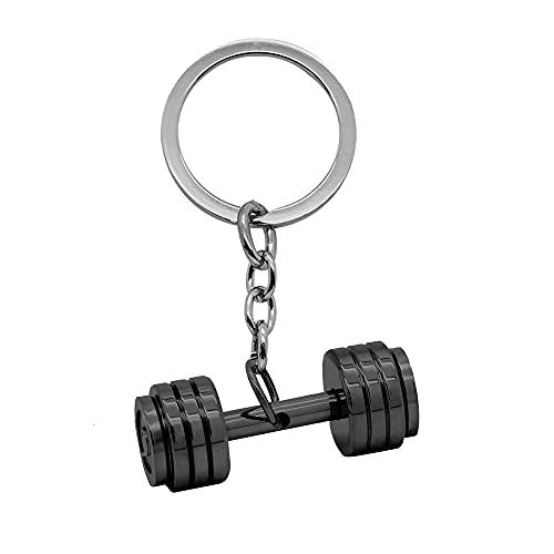 tumundo Schlüssel-Anhänger Hantel Edelstahl Gewicht Fitness Schwarz Bodybuilding Schlüsselring Autoschlüssel Sport