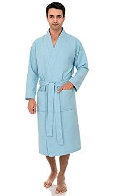 TowelSelections Men's Waffle Bathrobe Turkish Cotton Kimono Robe
