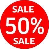 Stickers 50% SALE% etalage korting Uitverkoop eindverkoop Uitverkoop Uitverkoop Uitverkoop Uitverkoop SSV WSV%, 90 cm Durchmesser, rood, wit