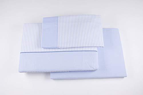 Burrito Blanco Juego de Sábanas de Franela 160 x 190/200 cm Rosa con Rayas Blancas/Juego de Cama 546 de 160x190 hasta 160x200 cm, Diseño de Rayas Blancas en Fondo Azul