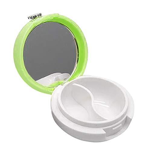 dailymall Pot Cosmétique Vides Récipient Cosmétique Vide en Verre Portable pour Visage Lotion Crème Poudres Onguent avec Miroir Portable - vert