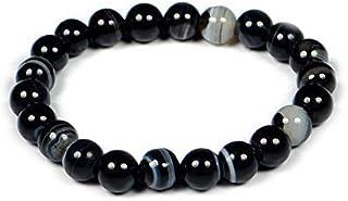 REBUY® Natural Black Stone 8 mm Beads Size Sulemani Hakik Unisex Bracelet