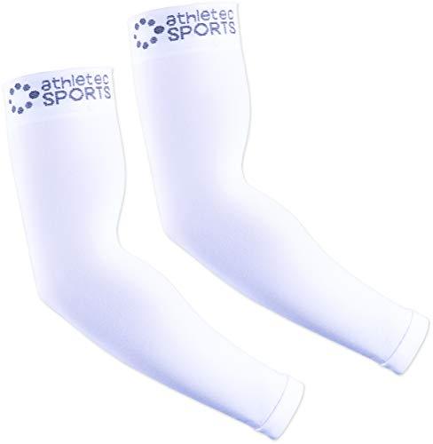 Athletec Sport Compression Arm Sleeve (20-30 mmHg) for Basketball, Baseball, Football, Cycling, Golf, Tennis, Arthritis, Tendonitis - Size Small/Medium in White (One Pair)