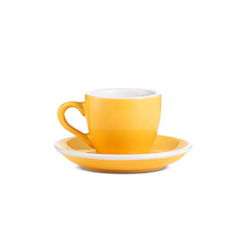 LOVERAMICS Espresso Cup and Saucer Egg Style, 80ml (2.7 oz) (Yellow, 2)