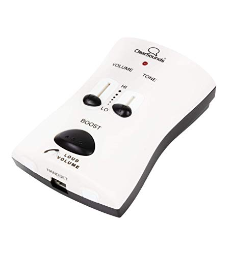ClearSounds WIL95 UltraClear Portable Telephone Amplifier for Corded Digital and VoIP Phones with Up to 40dB Amplification, AC Powered (White)