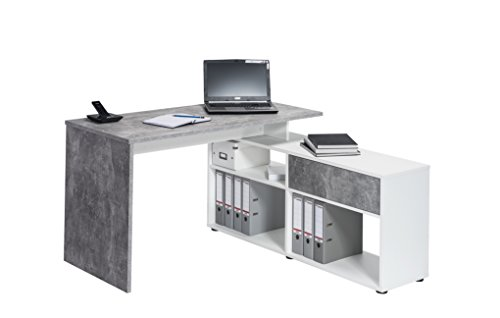 lisel-de Computertisch Maja Schreibtisch in Betonoptik/ICY Weiß mit Schublade - Mini Office wechselseitig montierbar Maße: 137x74x130cm