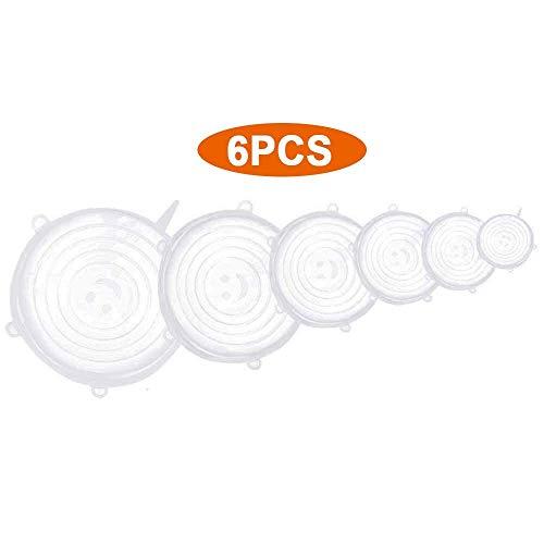 RdChicLog Tapas de Silicona Elásticas 6 Piezas Diferentes Tamaños Fundas para Alimentos Reutilizables Ecológicas para Botes de Cocina Latas Platos Sartenes y Ollas (Blanco)