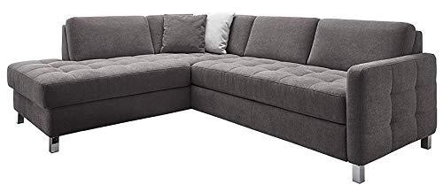 Cavadore Ecksofa Paolo mit gesteppter Sitzfläche / Großes Sofa in L-Form im modernen Design / 233 x 80 x 196 / Grau