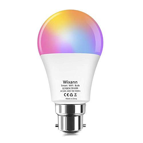 Alexa WiFi Smart Light Bulbs - Wixann B22 Bayonet 9W (80W Equivalent) RGBCW Colour Dimmable Smart Led Bulb Compatible with Alexa and Google Home (No Hub Required), 900LM [Energy Class A++] - 1Pack