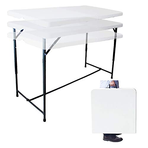 4ft Folding Table w/3 Adjustable Heights Plastic Foldable for Camping Picnic Garden Catering Party Dining BBQ Fair Stall Home Office w/Carry Handle Indoor & Outdoor