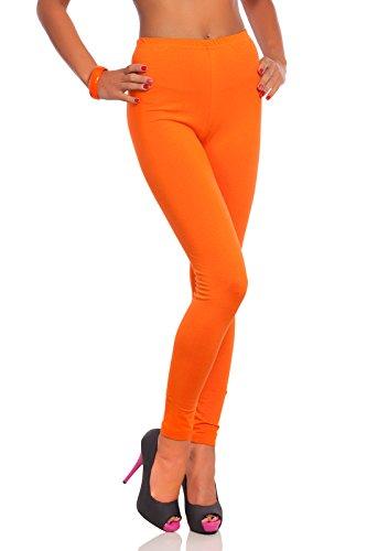 FUTURO FASHION - Damen Leggings aus Baumwolle - knöchellang - weich - Übergrößen - Orange - 40 Klassische Bundhöhe