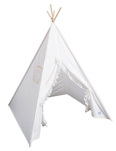 cozydots Teepee Kinder Zelt Spielzelt Top Qualität EU, Weiß Romantik,Tipi