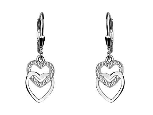 SOFIA MILANI - Damen Ohrringe 925 Silber - Ohrhänger als Herz - 20453