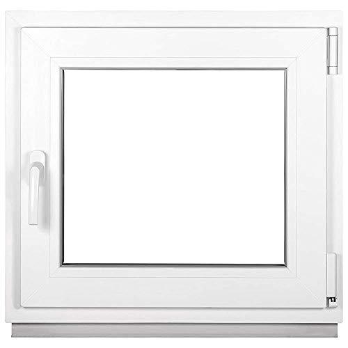 Kunststofffenster Weiß - Kellerfenster 2 Fach Verglasung BxH: 400 x 500 mm - Alle Größen - Garagenfenster/Gartenhaus Fenster 40 x 50 cm - 58 mm Profil - Din Rechts - Funktion Dreh Kipp Fenster