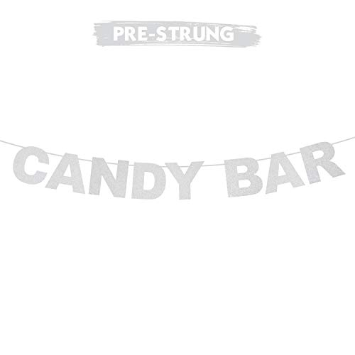 Candy Bar Silver Glitter Theme Bunting Banner For Wedding,Bachelorette,Pregnancy Announcement,Bar Sign Photo Backdrop Party Creative Decorations.