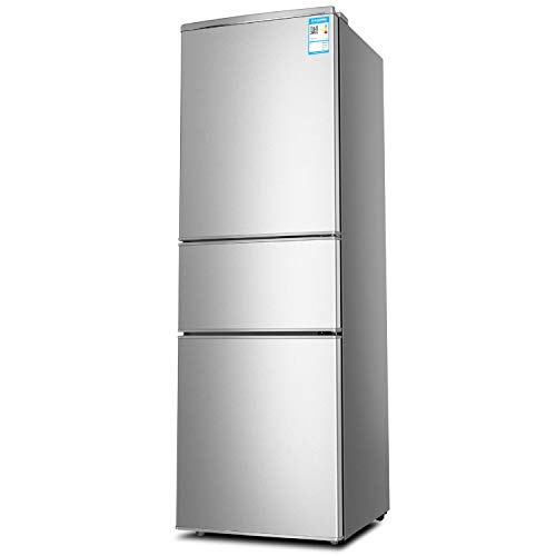 Koelkast 3 lagen 3-deurs huishoudens, energiebesparende koelkast en vriezer roestvrij stalen koeler, verwarming koeling mineraalwater, dranken, koffie, groenten en fruit vleesconservering opslagkoeling