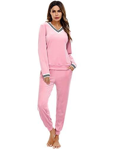 Irevial Damen Velours Hausanzug Nicki Schlafanzug Lang Winter Weicher Pyjama Anzug Set Zweiteiliger Flanell Trainingsanzug Oberteil und Hose mit Taschen Rosa M