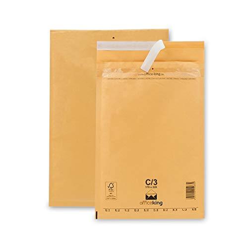 100 OfficeKing Luftpolsterumschläge C3 braun 170x225mm DIN A5 (10 Größen wählbar) Luftpolster Verpackung Polsterumschläge Briefumschläge gepolstert