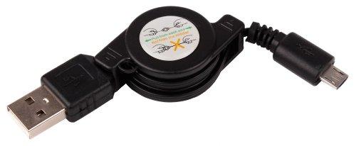 DURAGADGET Cable MicroUSB Retráctil para Cámara de acción Nilox F-60 Reloaded/Mini F/F...