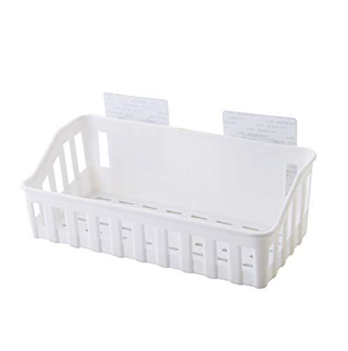 Estante hueco llano de almacenamiento de plástico perforado estante de baño montado en la pared artículos de tocador rack blanco