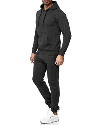Baxboy Herren Uni Colour Jogging Anzug Trainingsanzug Sportanzug Fitness Sporthose Hose Hoodie H-500, Farbe:Anthrazit, Größe:M