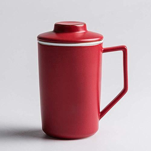 GJJSZ Keramik Kaffeetasse Tasse Büro Becher Mit Deckel Keramik Teetasse Mit Filtertasse Kreatives Geburtstagsgeschenk(Farbe: Rot,Größe: 14,5x9 cm)