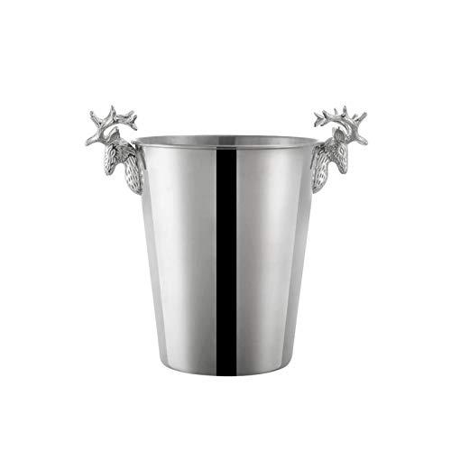 Cubo de hielo de acero inoxidable con mango de cabeza de ciervo, para enfriar tus cervezas, refrescos, mezcladores de cóctel y otras bebidas