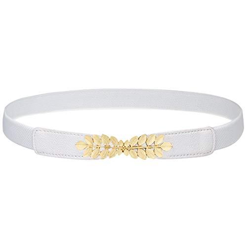 ArtiDeco Damen Metall dekorativen Gürtel dünnen Gürtel elastischen Taille Strap Stretchy Gürtel für Kleider (Blatt Muster-Weiß)